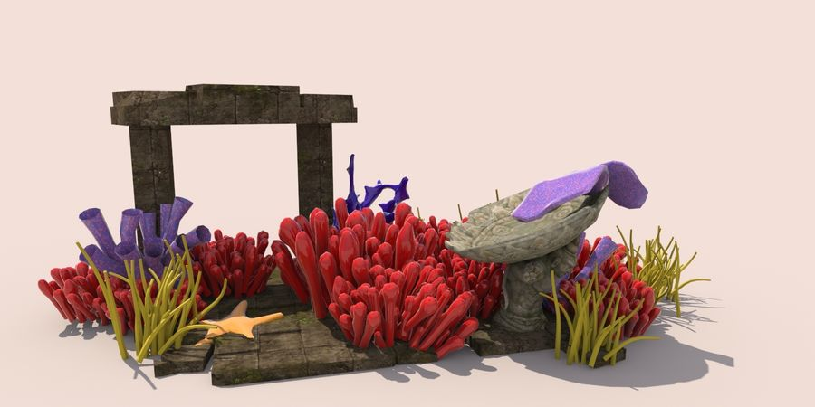 Korallenriff Unterwasserpflanzen royalty-free 3d model - Preview no. 1