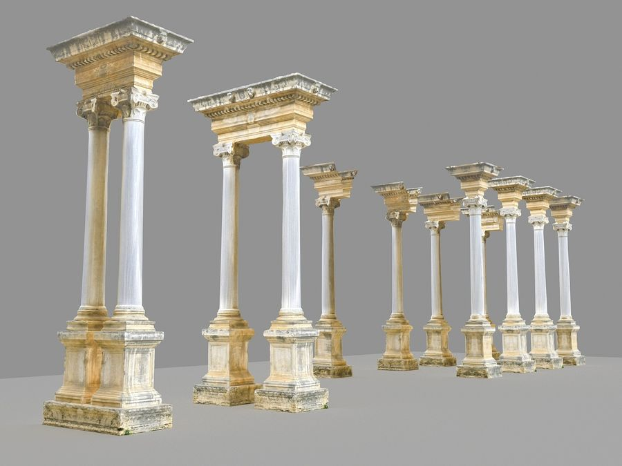 Ancient Pillar Pack royalty-free 3d model - Preview no. 9