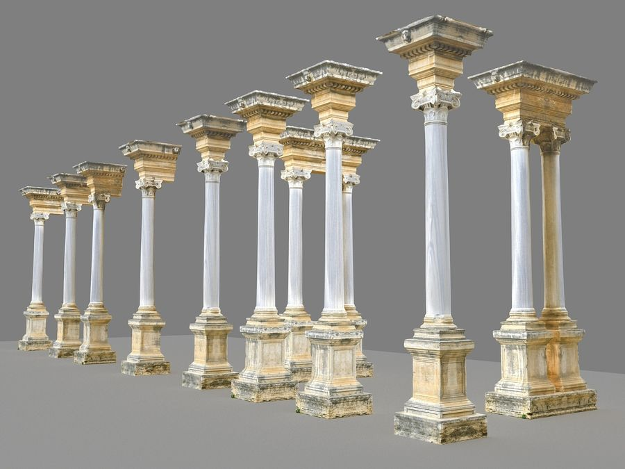 Ancient Pillar Pack royalty-free 3d model - Preview no. 2