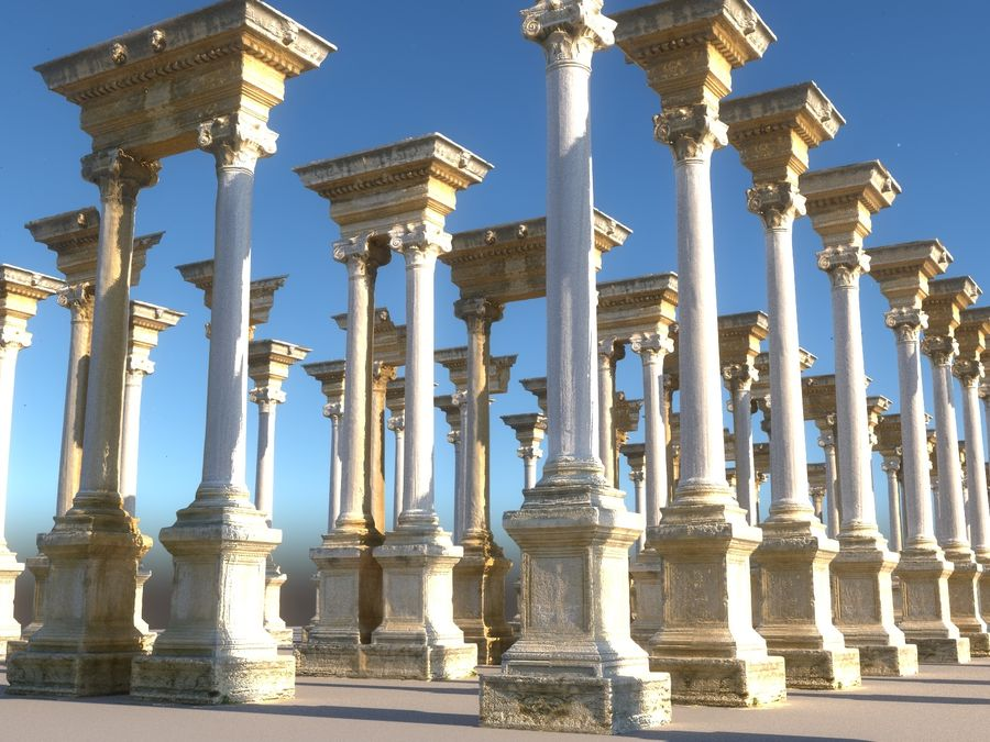 Ancient Pillar Pack royalty-free 3d model - Preview no. 10