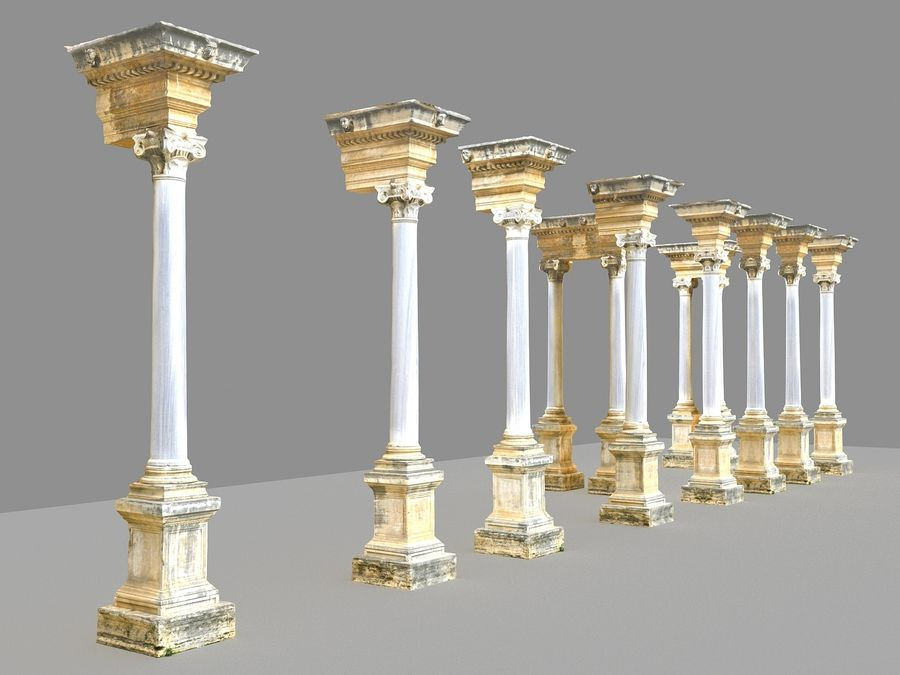 Ancient Pillar Pack royalty-free 3d model - Preview no. 3