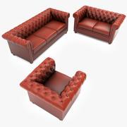 切斯特菲尔德真皮沙发套 3d model