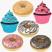 カップケーキとドーナツのコレクション 3d model