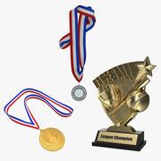 Beyzbol Kupa ve Madalya 3D Modeller Koleksiyonu 3d model