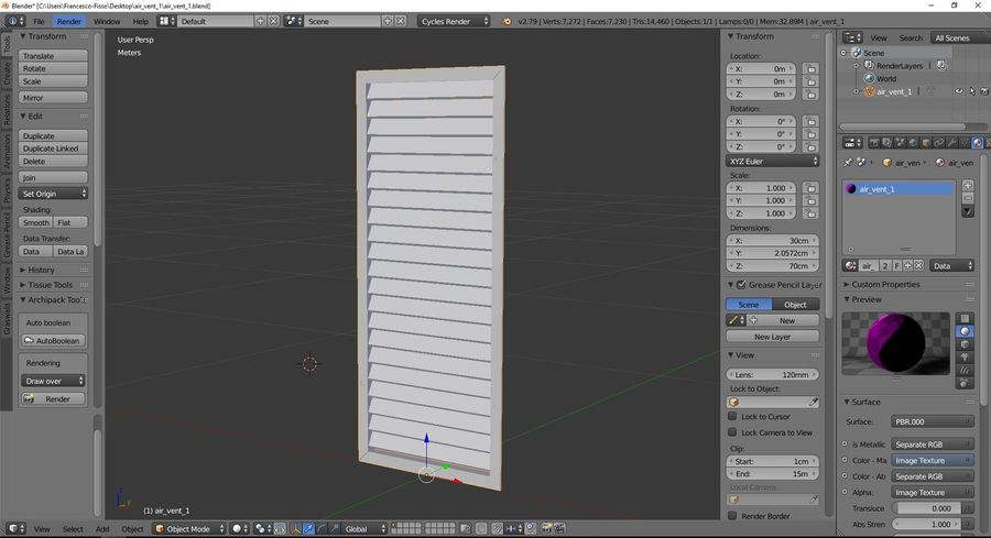 Air vent 1 royalty-free 3d model - Preview no. 9