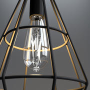 Lâmpada pingente gaiola com lâmpada Vintage 3d model