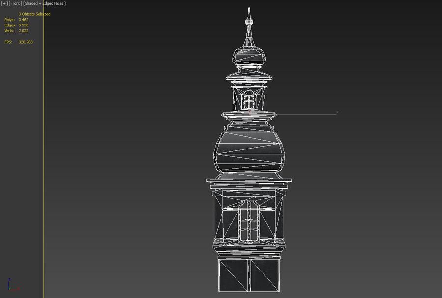 Torre da igreja royalty-free 3d model - Preview no. 11