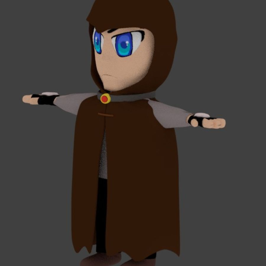 Anime character with cape royalty-free 3d model - Preview no. 7