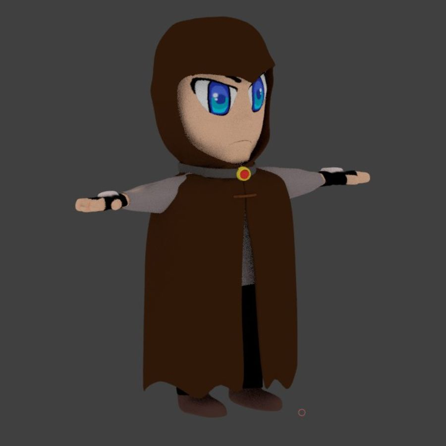 Anime character with cape royalty-free 3d model - Preview no. 6