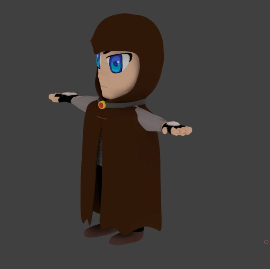 Anime character with cape royalty-free 3d model - Preview no. 2