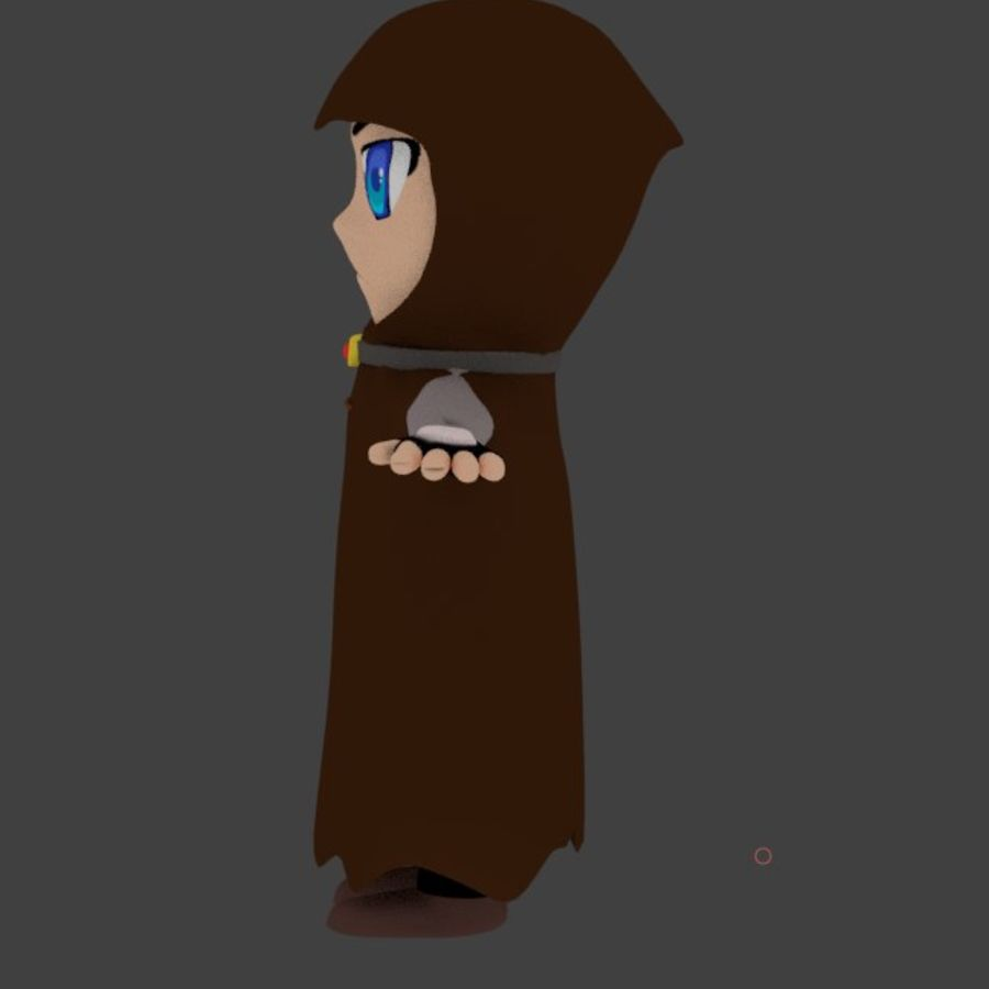 Anime character with cape royalty-free 3d model - Preview no. 4