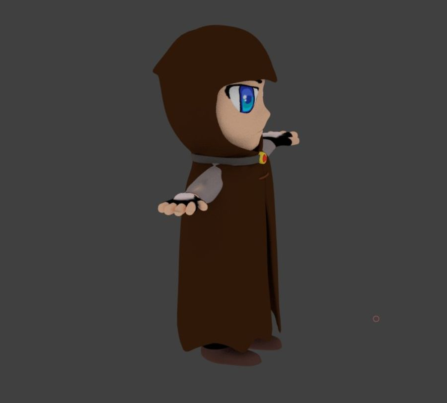Anime character with cape royalty-free 3d model - Preview no. 1
