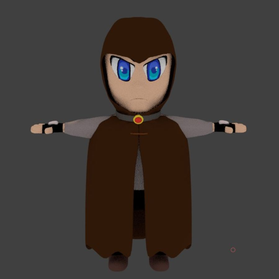 Anime character with cape royalty-free 3d model - Preview no. 3