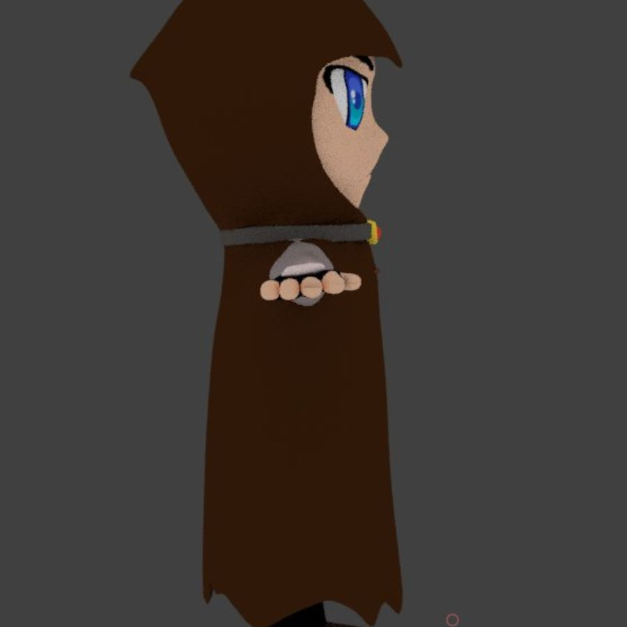 Anime character with cape royalty-free 3d model - Preview no. 5