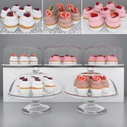 Cupcakes de frutas vermelhas 3d model