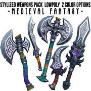 Pacchetto di armi stilizzato. Fantasia medievale. lowpoly 3d model