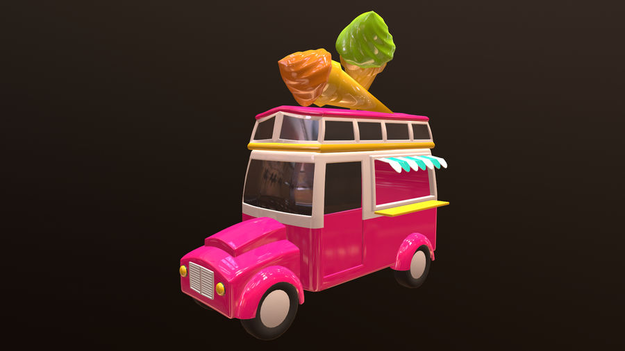 Asset - Cartoons - Car - Ice Cream - 3D Model royalty-free 3d model - Preview no. 1