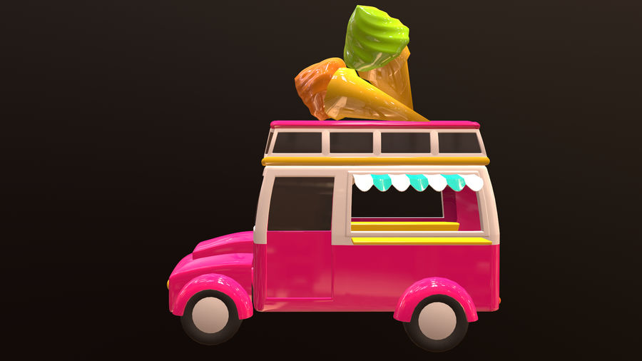 Asset - Cartoons - Car - Ice Cream - 3D Model royalty-free 3d model - Preview no. 2