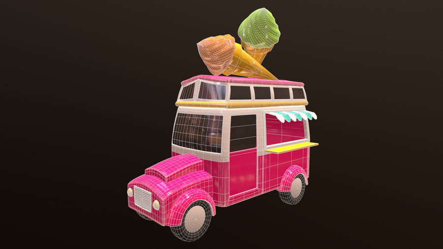 Asset - Cartoons - Car - Ice Cream - 3D Model royalty-free 3d model - Preview no. 6