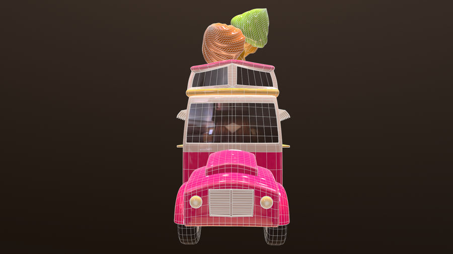 Asset - Cartoons - Car - Ice Cream - 3D Model royalty-free 3d model - Preview no. 8