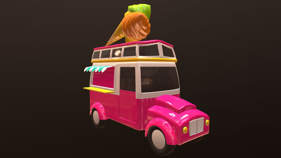 Asset - Cartoons - Car - Ice Cream - 3D Model royalty-free 3d model - Preview no. 4