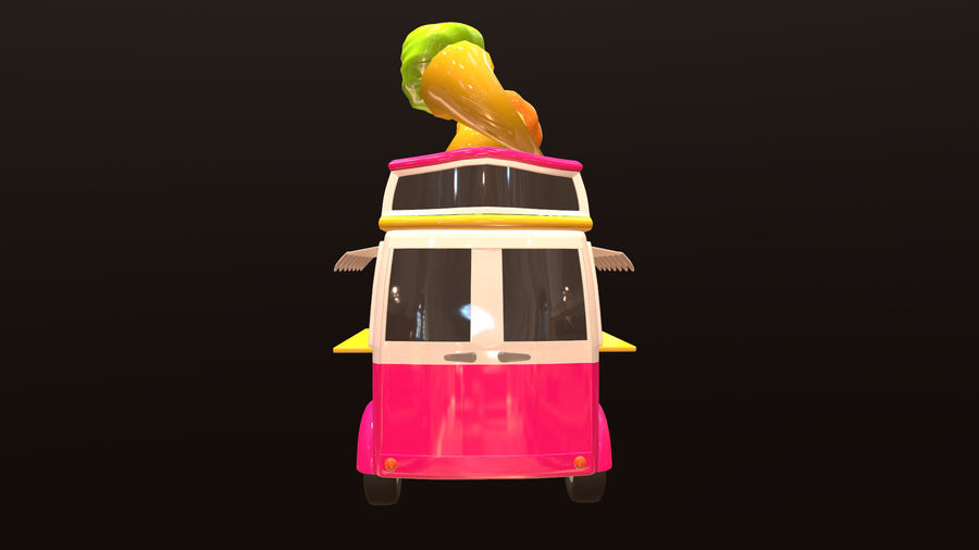 Asset - Cartoons - Car - Ice Cream - 3D Model royalty-free 3d model - Preview no. 5