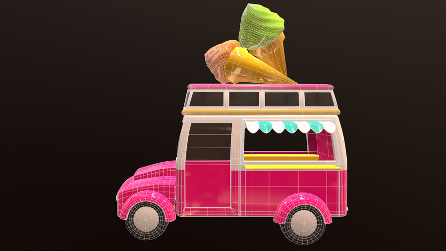 Asset - Cartoons - Car - Ice Cream - 3D Model royalty-free 3d model - Preview no. 7