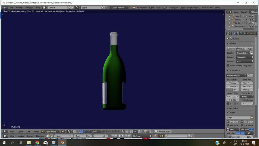 Şarap şişesi royalty-free 3d model - Preview no. 8
