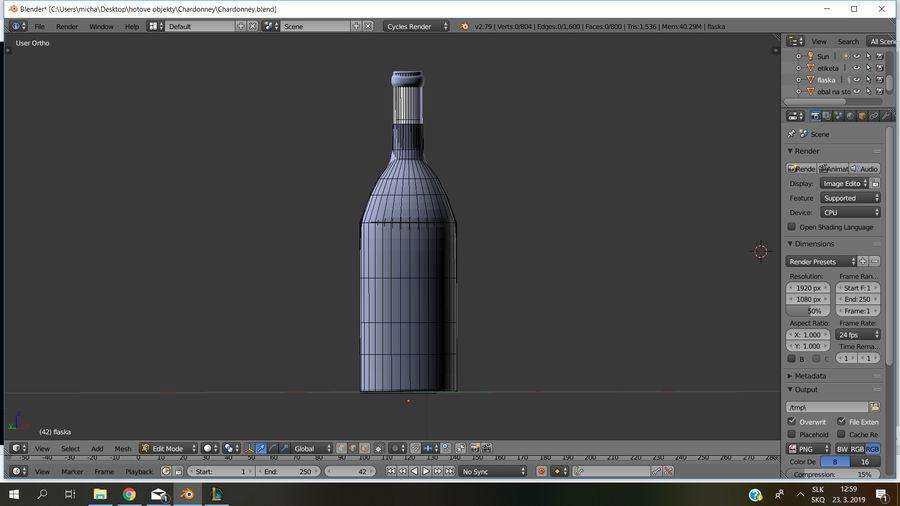 Şarap şişesi royalty-free 3d model - Preview no. 4