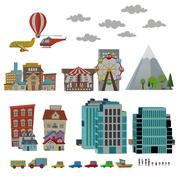 Satz städtische Gegenstände Karikaturstadt 3d model