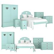 Conjunto de muebles para dormitorio infantil. modelo 3d