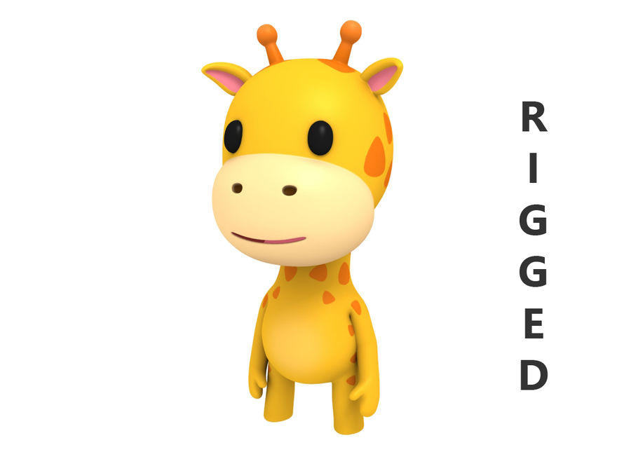 Rigged Giraffe royalty-free 3d model - Preview no. 2