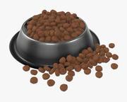 tigela de comida de cachorro com comida 2 3d model