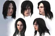 Męskie długie włosy lowpoly 5 gatunków 3d model