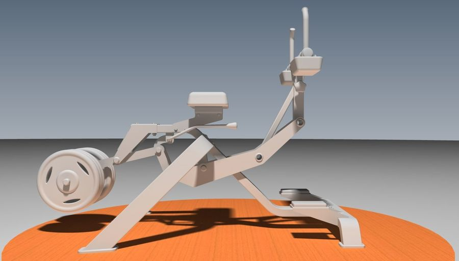 健身房坐式小腿提raise健身器 royalty-free 3d model - Preview no. 5