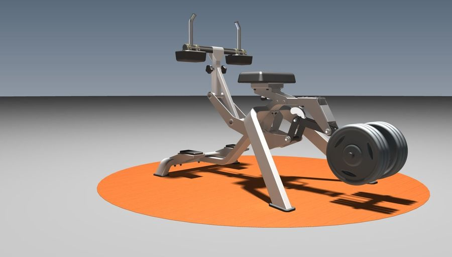 健身房坐式小腿提raise健身器 royalty-free 3d model - Preview no. 2