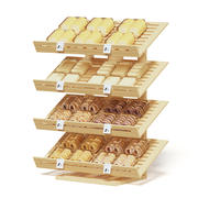 Market Shelf 3D Model - Bakery Products 3d model