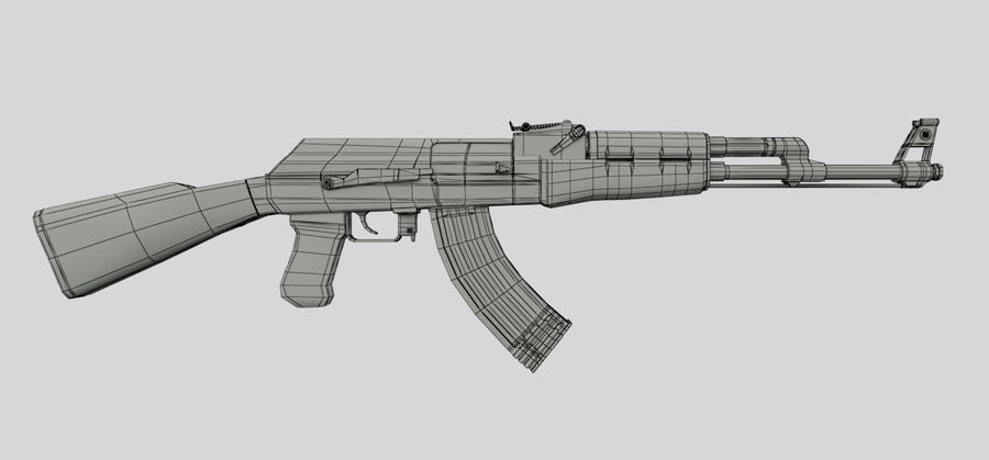 AK47枪 royalty-free 3d model - Preview no. 10