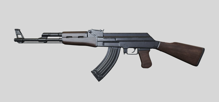 AK47枪 royalty-free 3d model - Preview no. 2