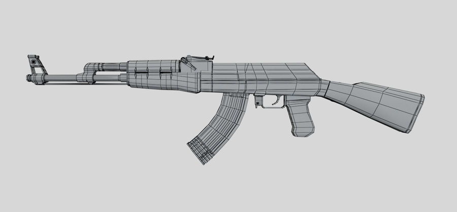 AK47枪 royalty-free 3d model - Preview no. 11
