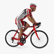 Kırmızı Elbiseli Bisikletçi Binme Bisiklet Arma 3d model