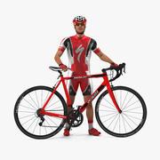 자전거와 빨간 옷을 입은 자전거 3d model