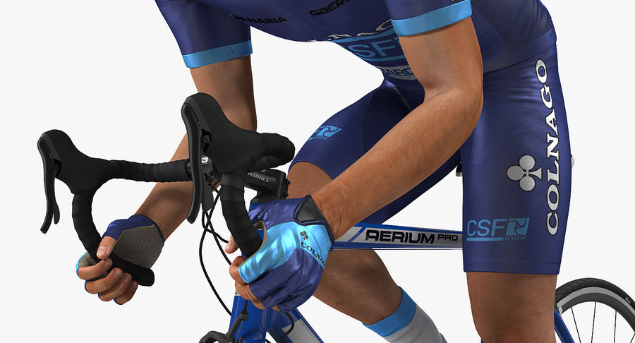 Bicyclist on Road Bike royalty-free 3d model - Preview no. 9