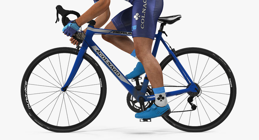 Bicyclist on Road Bike royalty-free 3d model - Preview no. 14