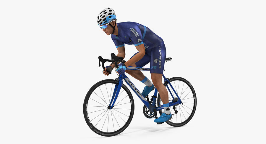 Bicyclist on Road Bike royalty-free 3d model - Preview no. 2