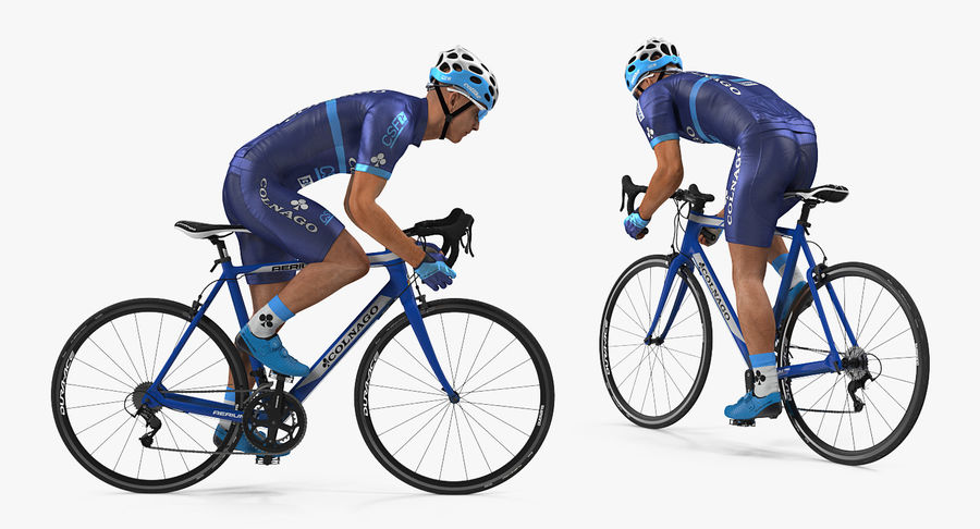 Bicyclist on Road Bike royalty-free 3d model - Preview no. 5
