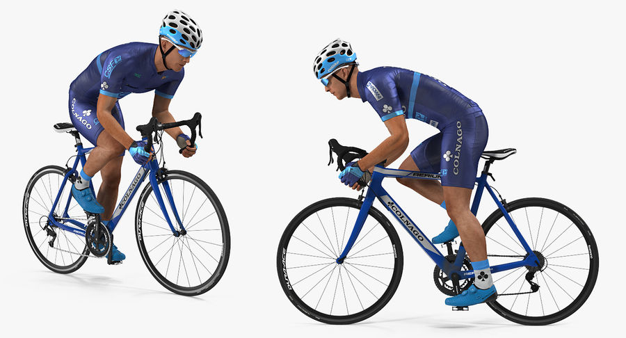 Bicyclist on Road Bike royalty-free 3d model - Preview no. 6