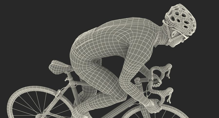 Bicyclist on Road Bike royalty-free 3d model - Preview no. 25