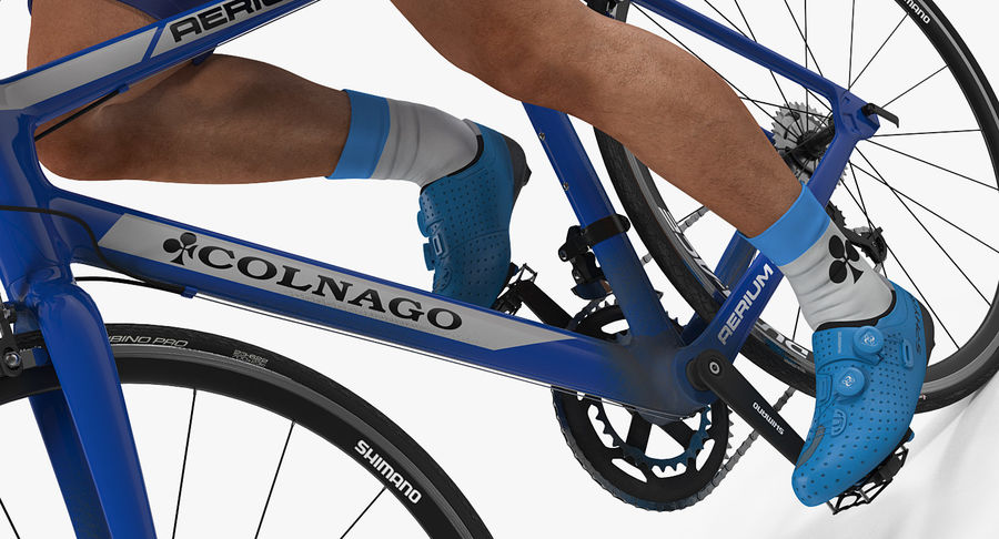 Bicyclist on Road Bike royalty-free 3d model - Preview no. 13