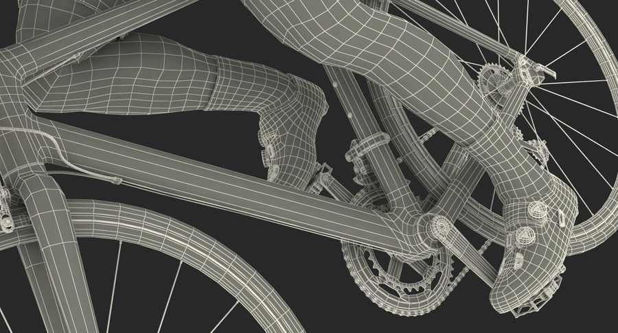 Bicyclist on Road Bike royalty-free 3d model - Preview no. 29